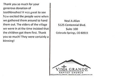 Vista Grande Baptist Church Thank You Letter